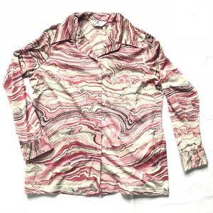 Vtg groovy 70s swirl shirt szL hippie boho
